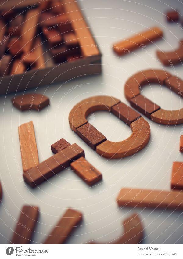 Auslegungssache Holz Schriftzeichen Ziffern & Zahlen schön braun weiß 400 Basteln liegen Spielen Geometrie Neigung Maserung Bildung Kindheit Schule Bogen gerade