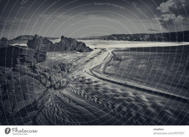 Alles fliesst Natur Landschaft Sand Wasser Himmel Wolken Sommer Wetter Schönes Wetter Felsen Wellen Küste Flussufer Strand Bucht Riff Meer schwarz weiß