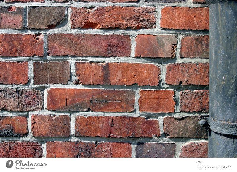 Mauer Mauer Architektur Backstein Fuge Wasserrinne Regenrinne