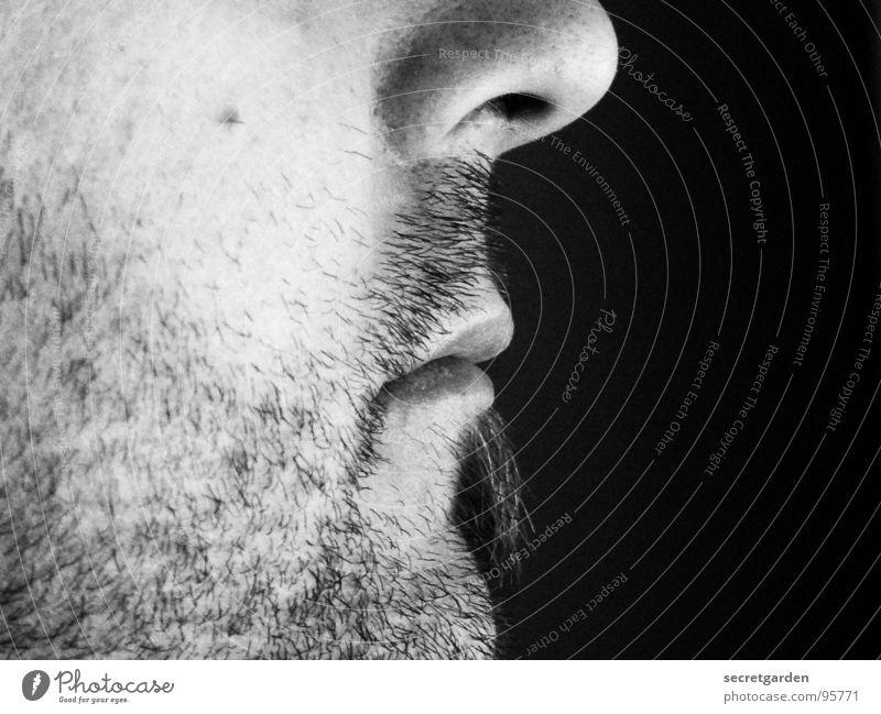 look to the right Mann Silhouette Profil Bart Kinn Oberlippenbart ruhig Licht Seite Gleichgültigkeit Raum Rasieren maskulin Meditation Schwarzweißfoto