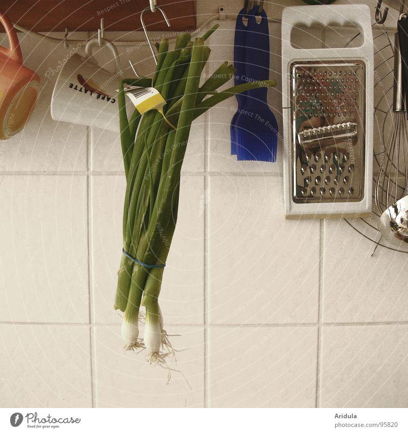 Küche_05 grün Ernährung Fliesen u. Kacheln Gemüse Tasse Zwiebel Reibe