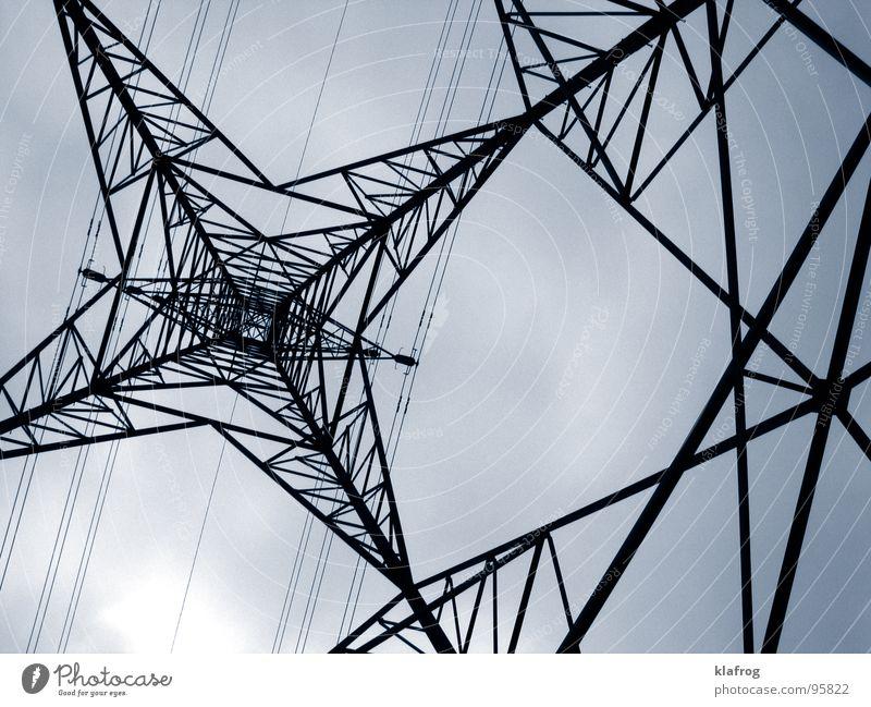 Stromstarkstrom Himmel grau Linie Kraft klein Industrie Energiewirtschaft Elektrizität gefährlich trist Fluss Kabel bedrohlich Denkmal Wahrzeichen Strommast