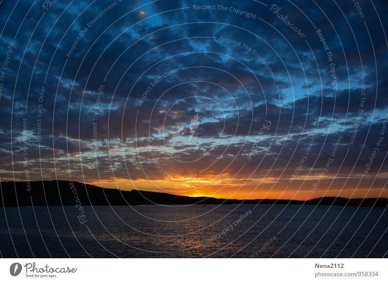 Untergang Umwelt Natur Landschaft Luft Wasser Himmel Wolken Gewitterwolken Nachthimmel Sonne Küste Seeufer Flussufer Strand bedrohlich dunkel fantastisch kalt