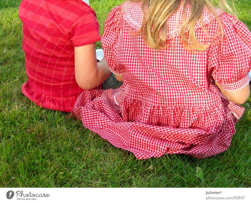 typisch Mädchen Kind Mädchen rot Sommer Wiese Denken 2 Zusammensein rosa sitzen Kleid Kleinkind