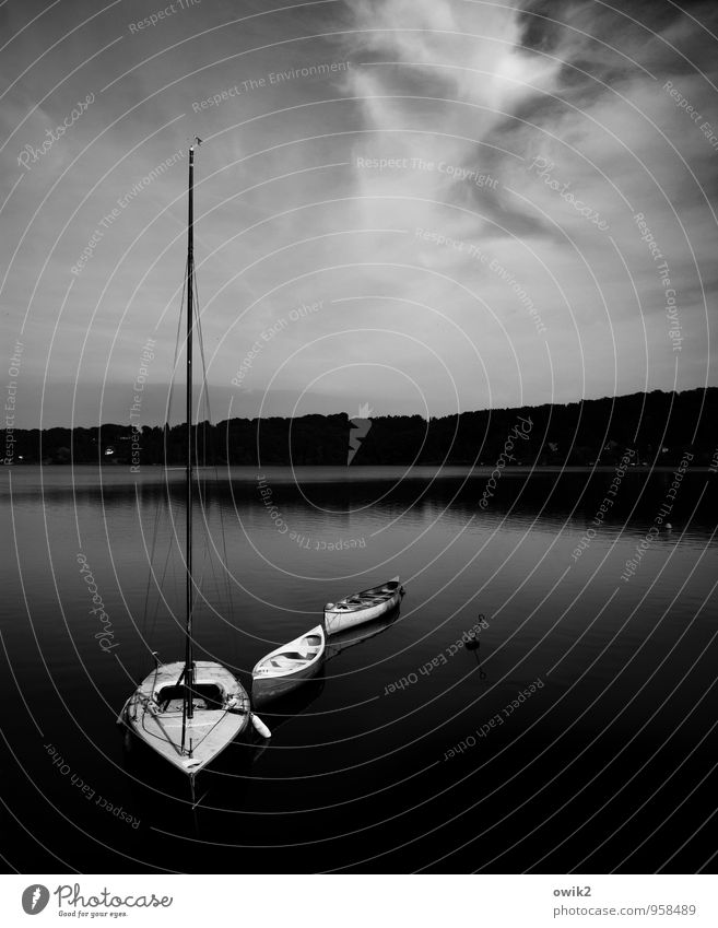 Schlafenszeit Umwelt Natur Landschaft Wasser Himmel Wolken Klima Wetter Schönes Wetter See Ratzeburger See Schifffahrt Segelboot Idylle Ruderboot dunkel Cirrus
