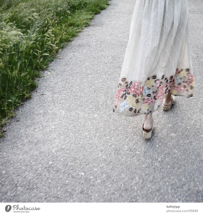 summer in a landscape Frau grün schön Sommer Blume feminin Gras Schuhe gehen Feld laufen Bodenbelag Bekleidung Gesäß Kleid Rasen