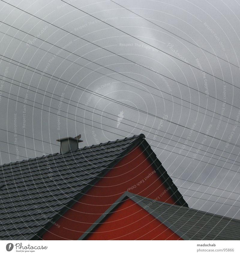 ROTHAUS Himmel rot Haus Wolken Gebäude Linie Architektur Wetter trist Kabel Dach einfach Quadrat Langeweile Schornstein