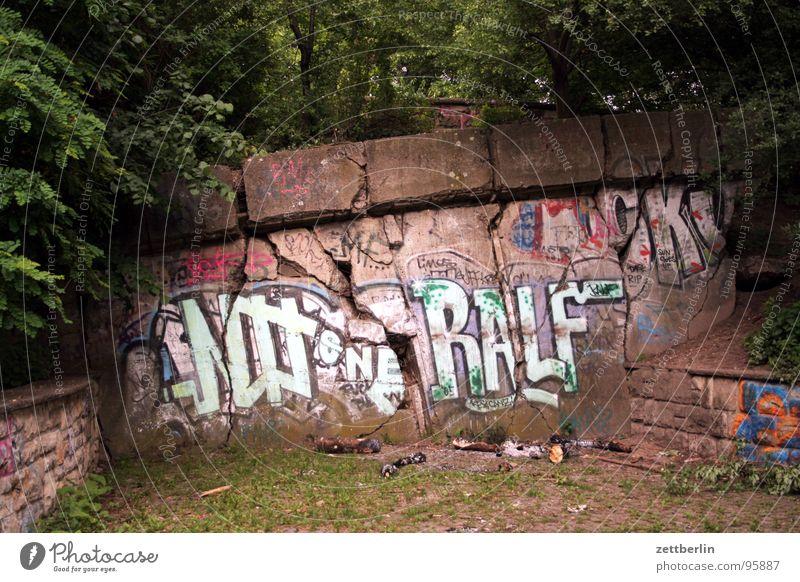 Friedrichshain Baum grün Pflanze Berlin Park Beton Sträucher Spaziergang Spuren verfallen Vergangenheit historisch Riss Spalte Straßenkunst