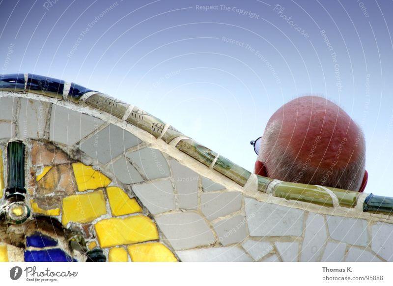 EX - BERLIN Park ruhen Pause Brille Mosaik Barcelona Sommer gelb 93 Verkehrswege Freude guell Fliesen u. Kacheln Himmel Sonne exusu zettberlin blau