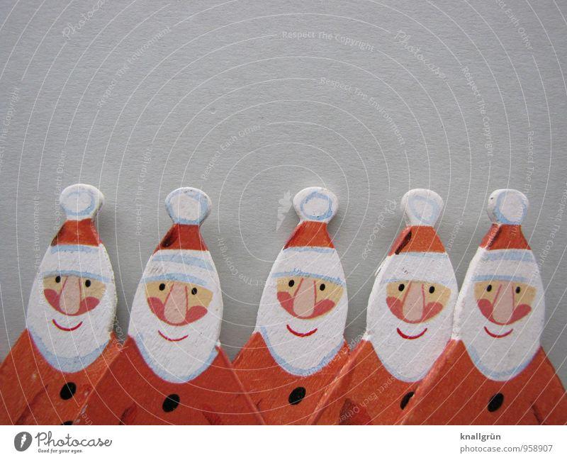 Seniorengruppe maskulin Mann Erwachsene Männlicher Senior Großvater 5 Mensch Menschengruppe 60 und älter Nikolausmütze Freundlichkeit Fröhlichkeit lustig rot