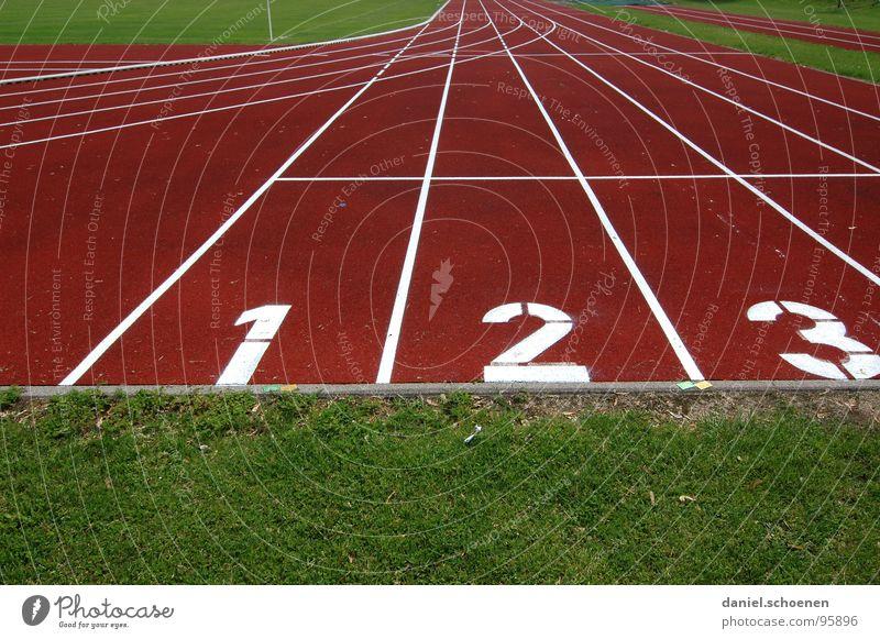 1-2-3 Rennbahn Sportplatz Leichtathletik rot grün Hintergrundbild 100 Meter Lauf Spielen Sportveranstaltung Konkurrenz Beginn Ziel laufen Ziffern & Zahlen Linie