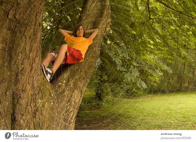 Abhängen in freier Natur Erholung ruhen ruhig Baum Park Wald Sträucher genießen Wiese Waldlichtung grün rot Jugendliche boy silent chilling relaxing tree oben