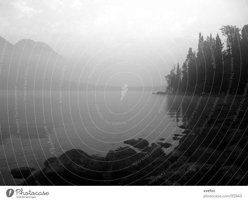 Guten Morgen! See Nebel trist Amerika dunkel ruhig Einsamkeit Außenaufnahme Nordamerika Schwarzweißfoto Stein Berge u. Gebirge Morgendämmerung Frieden Freiheit