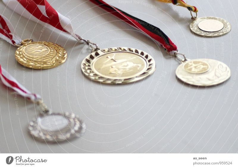 Medaillenregen Sport Sportler Sportveranstaltung Preisverleihung Pokal Erfolg Schwimmen & Baden Turnen Schulkind Urkunde Kindheit Leben Goldmedaille Silbermedai