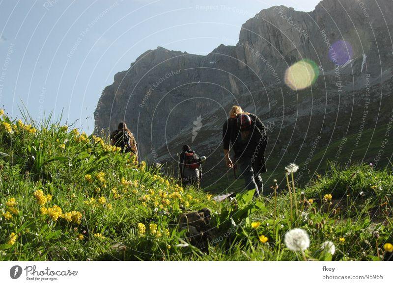 auf dem Weg nach oben steil hart Wiese grün saftig frisch Schweiz Europa wandern anstrengen Ferne Mann Mut aufstrebend Blume mehrfarbig gelb mehrere Morgen