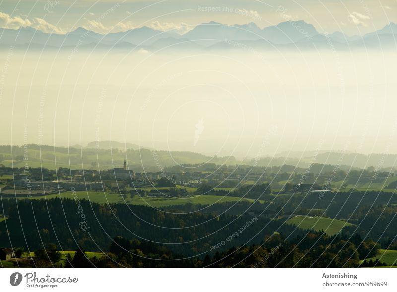 Nebel im Alpenvorland Himmel Natur blau Pflanze grün Baum Landschaft Wolken Haus Ferne Wald Umwelt Berge u. Gebirge Herbst Wiese Horizont