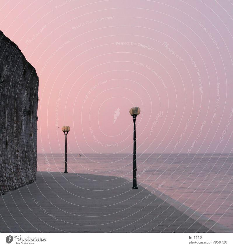 Abendstimmung Landschaft Wasser Himmel Wolkenloser Himmel Horizont Sonne Sonnenaufgang Sonnenuntergang Sonnenlicht Herbst Schönes Wetter Küste Seeufer Meer