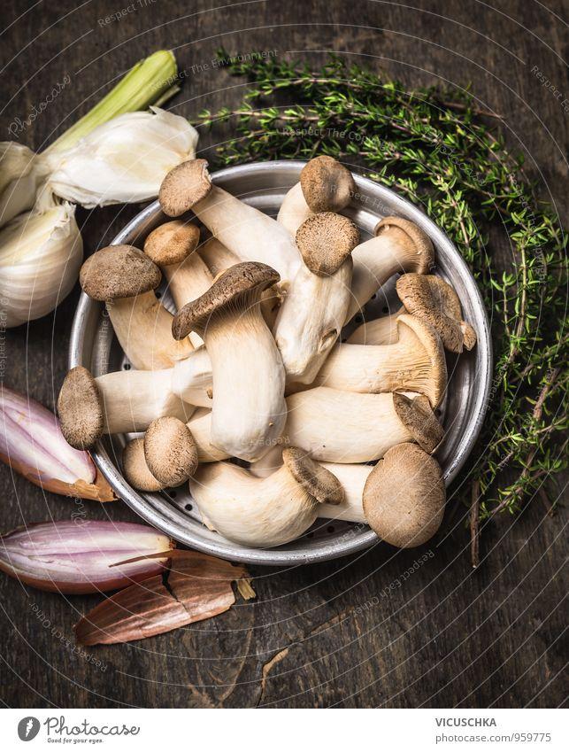 Kräuterseitling Pilze mit Kräutern und Gewürzen Natur alt Sommer Gesunde Ernährung dunkel Stil Lebensmittel Foodfotografie Metall Design Kochen & Garen & Backen