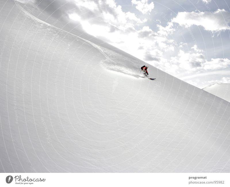 Powder pur Winter Skifahrer Skifahren Wintersport Tiefschnee Hohen Tauern NP Kitzsteinhorn weiß kalt weich Österreich Außenaufnahme Querformat Berge u. Gebirge