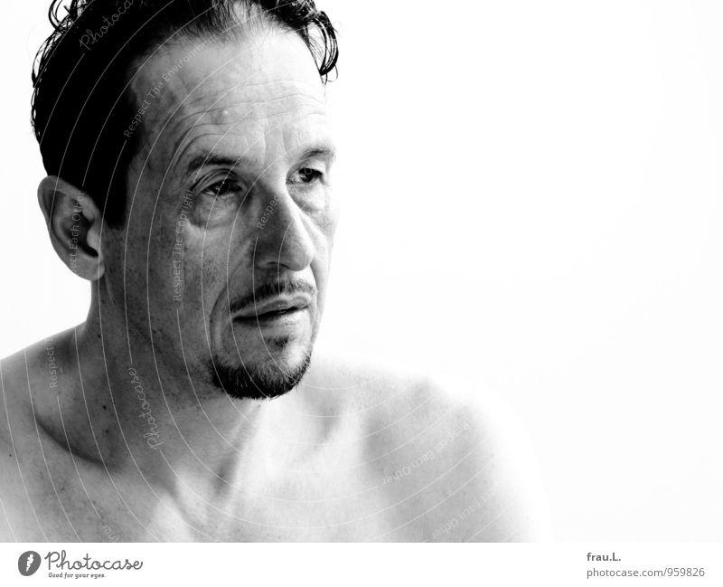 müde Augen Mensch Mann alt nackt Erwachsene Gesicht Traurigkeit natürlich Denken maskulin 45-60 Jahre einzigartig Männlicher Senior dünn Bart Müdigkeit