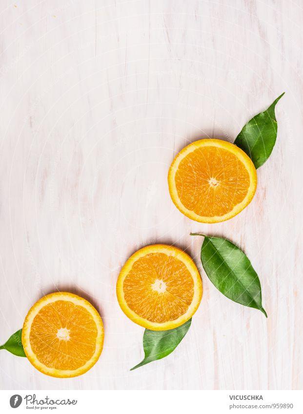 Schneiden Orange, Früchte mit Blättern Lebensmittel Frucht Ernährung Frühstück Bioprodukte Vegetarische Ernährung Diät Saft Stil Design Sommer Natur gelb