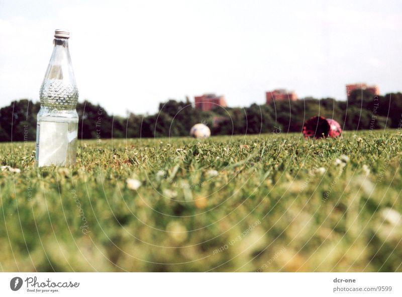 grüner rasen grün Wiese Hochhaus Ball Rasen Flasche Teufel Symbole & Metaphern Wasserflasche
