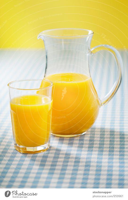 Frucht Glas Orange frisch Getränk Flüssigkeit kariert Tischwäsche liquide Objektfotografie Saft Kannen fruchtig Orangensaft Glaskrug