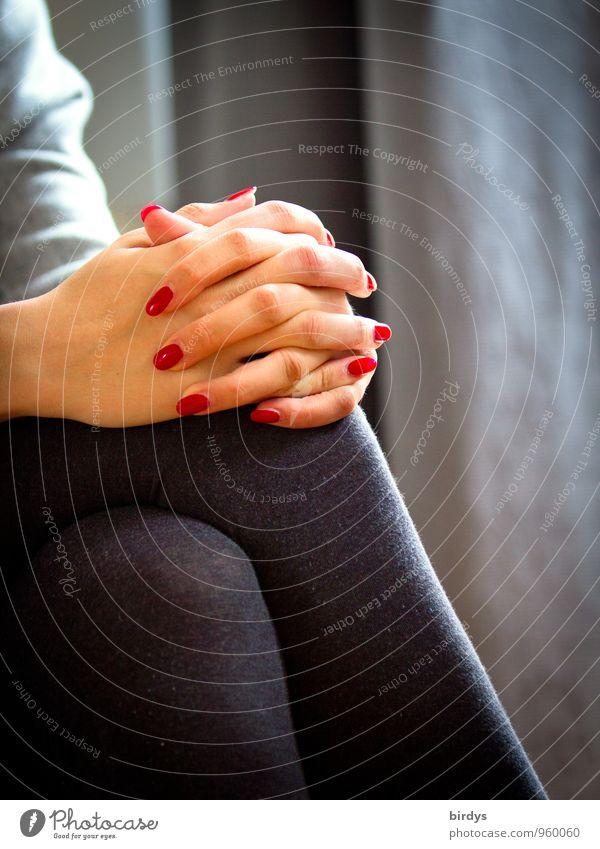 Konversation elegant Stil schön Nagellack harmonisch Junge Frau Jugendliche Hand Finger Beine 1 Mensch 18-30 Jahre Erwachsene Strumpfhose sitzen ästhetisch