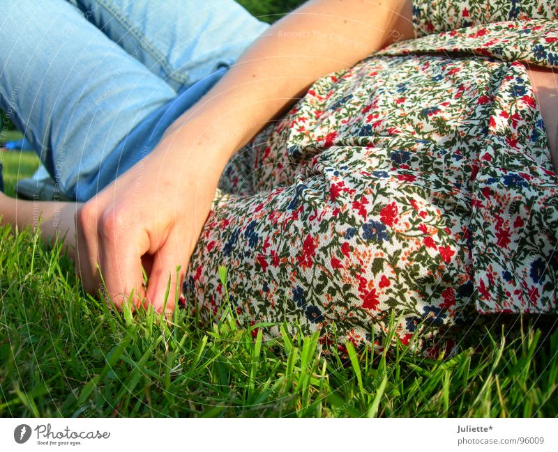 wiesenlieger Wiese Erholung Blume Bluse Frau Hand mehrfarbig Rasen liegen Jeanshose Farbe