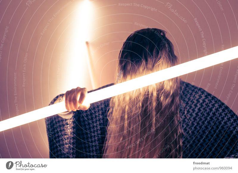 may the force... Mensch feminin Junge Frau Jugendliche Erwachsene Haare & Frisuren 1 blond langhaarig leuchten nerdig trashig Kraft Willensstärke Aggression