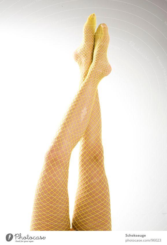 schöne Beine Freude gelb Fuß Haut elegant Netz Strümpfe Zehen Oberschenkel Wade Netzstrumpfhose