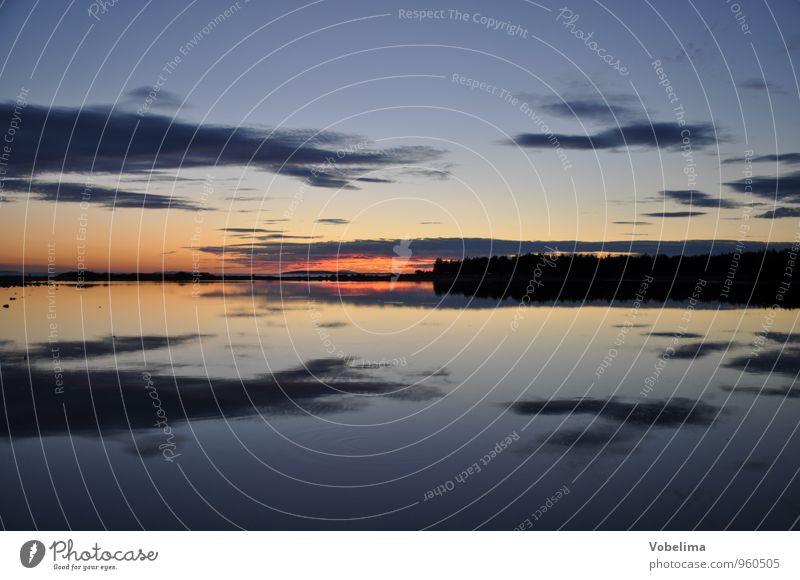 Abend am Meer Ferien & Urlaub & Reisen blau Wasser Sonne rot Landschaft Wolken Ferne schwarz gelb Küste See Luft Wetter orange