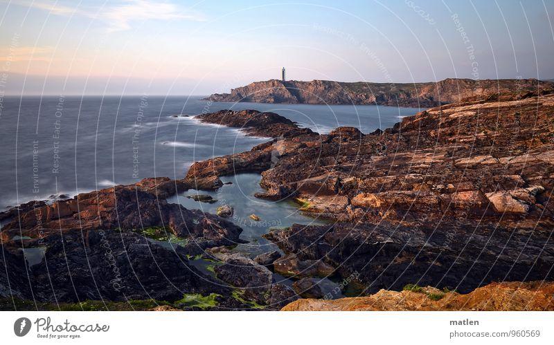 lighthouse Natur Landschaft Himmel Wolken Horizont Sonnenaufgang Sonnenuntergang Wetter Schönes Wetter Felsen Wellen Küste Riff Meer Leuchtturm blau braun