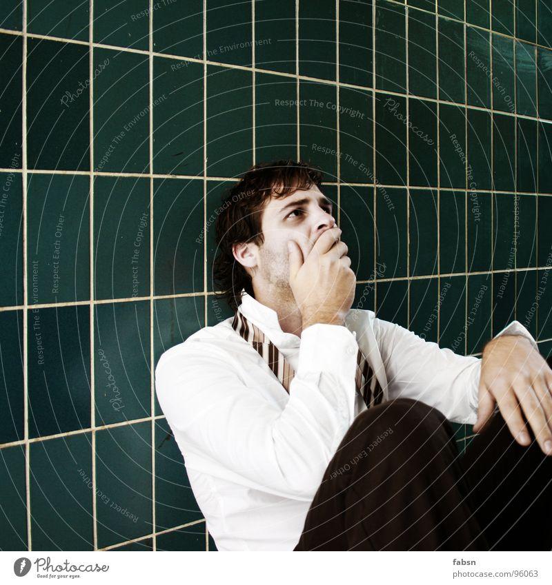 VORBEI ALLES Mensch weiß grün Auge Traurigkeit Business Luft Arbeit & Erwerbstätigkeit Angst Design gefährlich kaputt bedrohlich T-Shirt Trauer Ende
