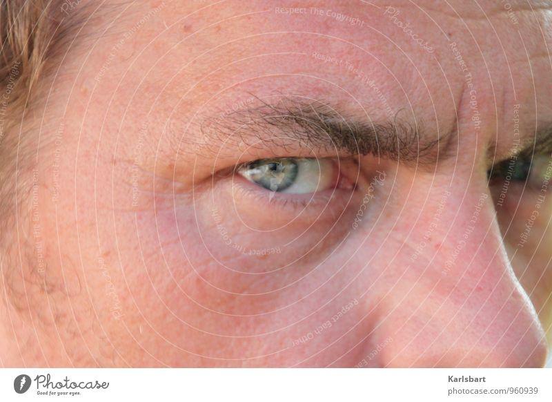 Scharf betrachtet Mensch Mann Erwachsene Auge Gesundheit maskulin Erfolg Perspektive planen Neugier Sicherheit Bildung Beruf Erwachsenenbildung Wachsamkeit