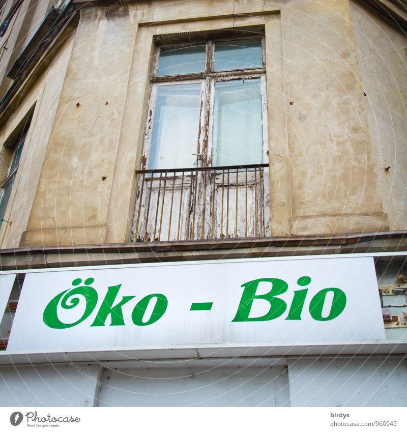 ...logisch - oder ? alt grün weiß Gesunde Ernährung Fenster Senior Gesundheit Fassade Tür Schilder & Markierungen authentisch Schriftzeichen kaputt