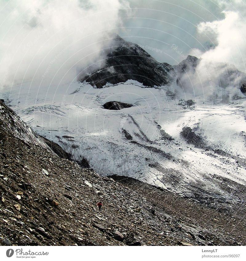 HALF FULL OF HAPPINESS Himmel Winter Ferien & Urlaub & Reisen Wolken kalt Schnee Berge u. Gebirge Stein Eis wandern Wetter Klima Klettern Österreich Bergsteigen
