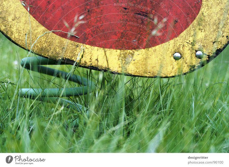 Federtier alt grün rot gelb Wiese Gras Vogel Spielzeug Kindheit Ente Schaukel Spielplatz gebraucht Wippe