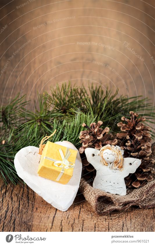Weihnachtsgeschenk Lifestyle Basteln Dekoration & Verzierung Holz Ornament Herz Engel authentisch einzigartig natürlich braun grün Tradition Dezember Geschenk