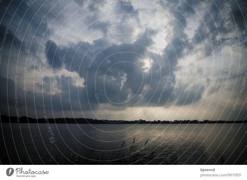Wolken über dem Eckernförder Noor Natur Landschaft Wasser Himmel Sonnenaufgang Sonnenuntergang Sonnenlicht Herbst See bedrohlich dunkel kalt Gefühle Stimmung