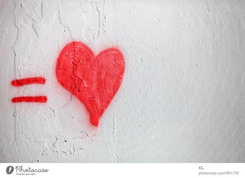 1 herz weiß rot Wand Graffiti Gefühle Liebe Mauer Glück Freundschaft Zusammensein Schriftzeichen Herz Lebensfreude Romantik Zeichen Kitsch