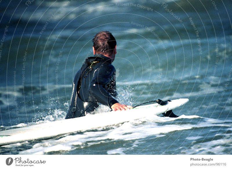 Sportlich Surfen Wassersport Surfbrett Surfer Neopren Neoprenanzug Meerwasser Wellen See Brandung nass kalt Spielen Funsport sportlich Holzbrett Surfanzug Wind