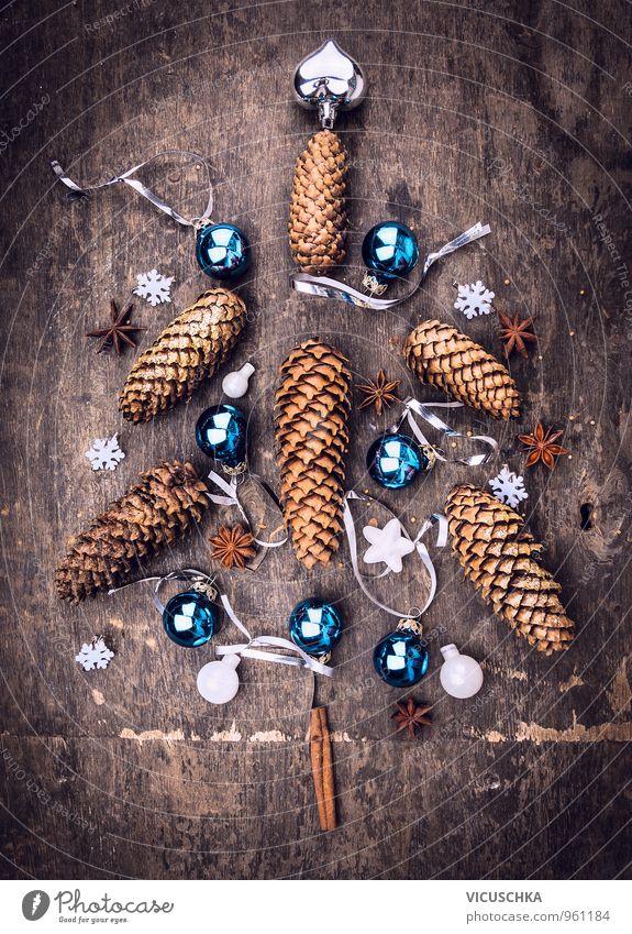 Weihnachts Baum aus Winter Dekoration Natur alt blau Weihnachten & Advent Winter dunkel Innenarchitektur Stil Holz braun Wohnung Häusliches Leben Design Herz Stern (Symbol) Postkarte