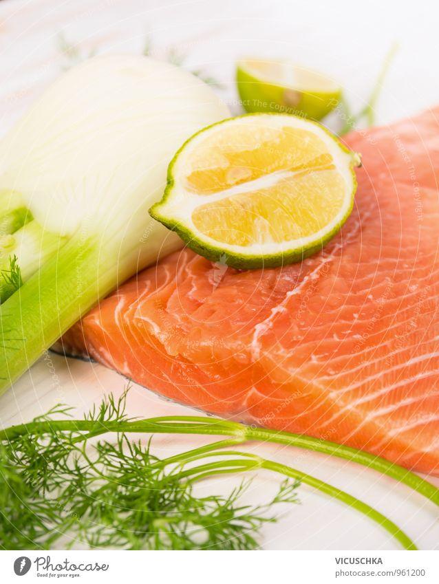 Lachssteak, Vorbereitung mit Fenchel und Zitrone Lebensmittel Fisch Frucht Kräuter & Gewürze Ernährung Mittagessen Abendessen Festessen Bioprodukte