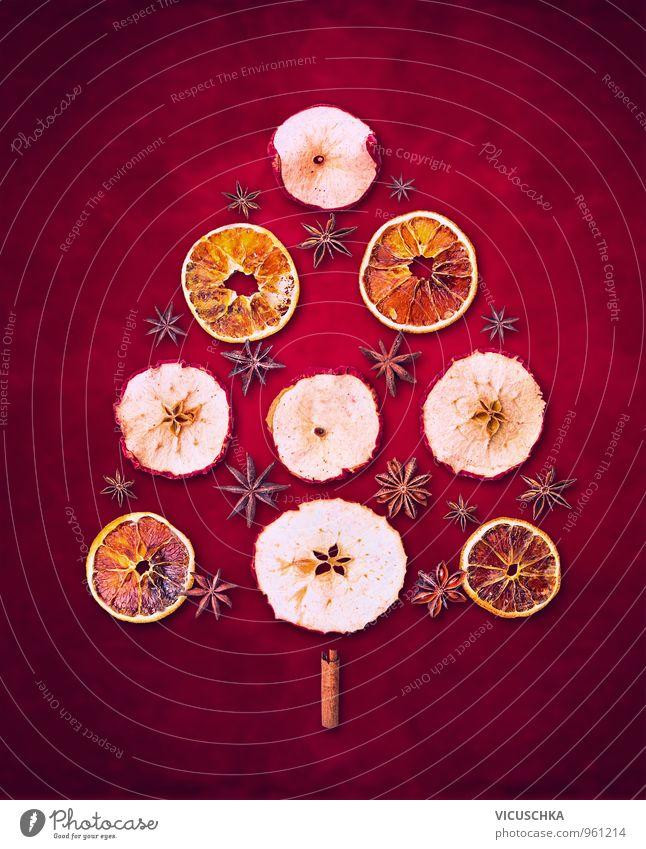 Weihnachtsbaum ausTrockenen Winter Früchte Natur Weihnachten & Advent rot Winter Hintergrundbild Feste & Feiern Lebensmittel Freizeit & Hobby Frucht Design Orange trocken Postkarte Kräuter & Gewürze Apfel Weihnachtsbaum