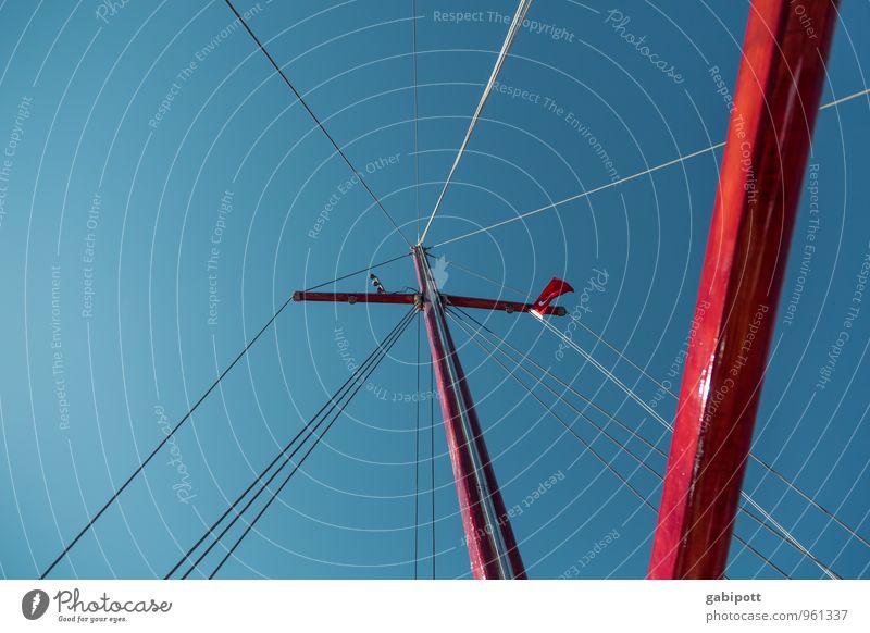 Leinen los! Schifffahrt Kreuzfahrt Bootsfahrt Fischerboot Segelboot Segelschiff Hafen Seil Mast frei Freundlichkeit frisch glänzend Glück blau rot Leben