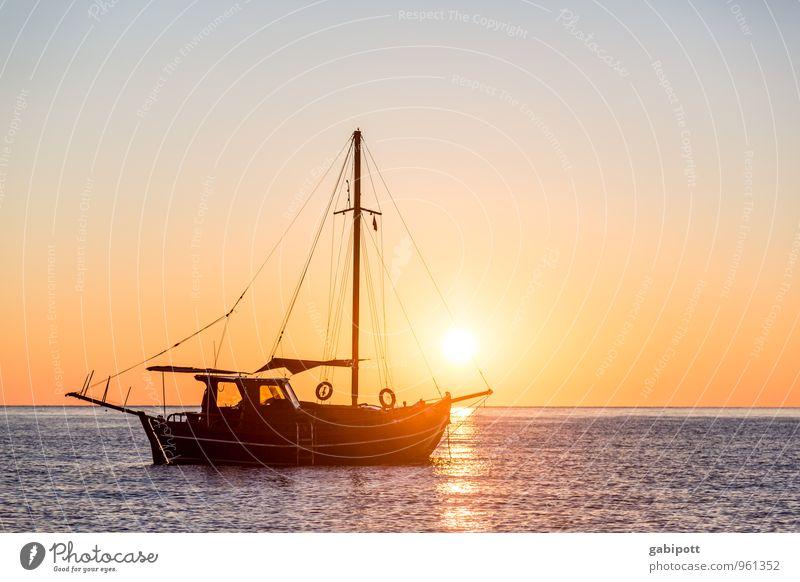 Gute Fahrt ins neue Jahr Ferien & Urlaub & Reisen blau Sommer Erholung Meer ruhig Strand Ferne Glück Freiheit Horizont orange Zufriedenheit Tourismus Ausflug