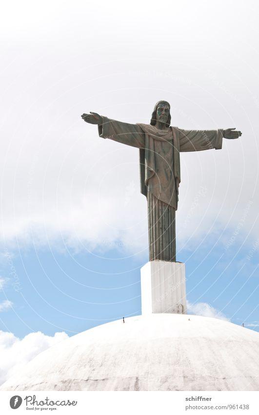 hieb- und stichfest | glauben Skulptur Bauwerk Sehenswürdigkeit Wahrzeichen Denkmal Zeichen Kreuz Engel Bekanntheit Klischee Macht Akzeptanz Vertrauen