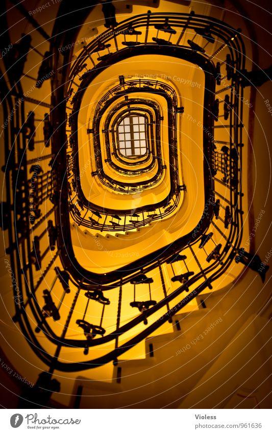 Treppauf... schön gelb Architektur Treppe fantastisch Kitsch Treppenhaus Treppengeländer