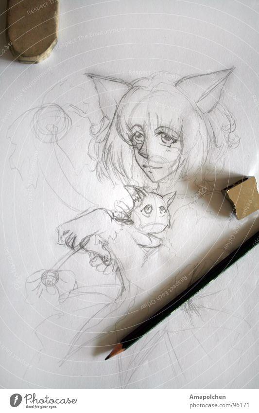 Das Mädchen aus den Bleistiftlinien Katze Jugendliche weiß Stil Holz Kunst grau Linie Arbeit & Erwerbstätigkeit Design Freizeit & Hobby Beginn Kreativität Idee